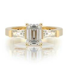 1.50 CARAT G SI2 EMERALD SOLITAIRE DIAMOND ENGAGEMENT RING 14K YELLOW GOLD