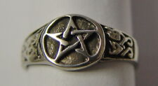 RING: SIZE 12 PENTAGRAM - PEWTER - Wicca Pagan Witch Goth Punk Charmed Occult