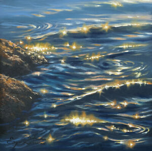 J. Litvinas Original Oil Painting 'REFLECTIONS' 8 by 8 inches