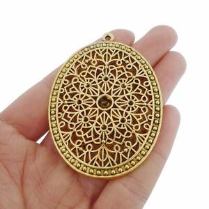 5pcs Antique Gold Large Oval Charms Pendants Blank Rhinestone Settings 64x47mm