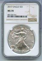 2017 American Silver Eagle Dollar NGC MS 70 Certified 1 oz Bullion ounce RW147