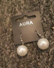 aura ivory white glass pearl earrings