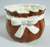 Inarco Vase Planter Japan Ceramic Basket with Bow Brown E-6326 Farmhouse Chic
