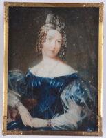 """""""Lady in blue Biedermeier gown"""", fine Austrian miniature, ca. 1830"""