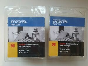 2 KODAK EPSON T29 BLACK Twin Pack Remanufactured Ink Cartridges  NEW & SEALED