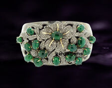 925 Sterling Silver Natural Rose Cut Diamond & Emerald Wedding Cuff Bangle
