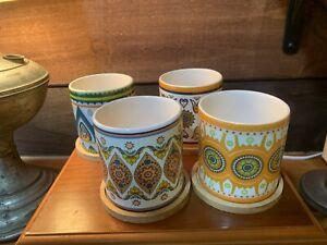 4pcs 3 Inch Cylinder Ceramic Planters + Bamboo Trays (Bohemian Style)