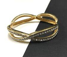 Stunning Vintage SWAROVSKI Crystal Clamper BANGLE Bracelet 18K Gold Plated JJ12o