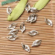 200pcs dark silver color curved little leaf design charms  EF2865
