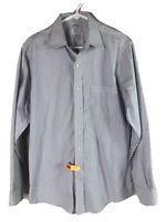 Brooks Brothers Regent Dress Shirt Mens Medium 15.5 Blue Striped 100% Cotton Euc