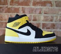 2019 Nike Air Jordan 1 Mid SE Black Tour Yellow Toe White 852542-071 Size