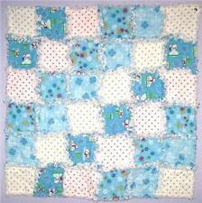 Handmade Baby Boy Blue White Rag Quilt / Blanket - Gift
