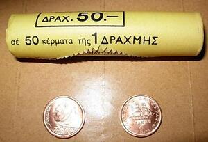 Greece  Greek  1  Drachma  50 loose  coins   Year 1990   UNC BU  Free Shipping
