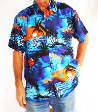 """Loud Hawaiian Camisa Azul Palmeras/Naranja Puestas de sol XS, 44 """","""
