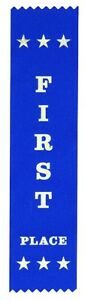 100 First Place Award Ribbons 200 x 50 mm - Metallic GOLD print - Free post