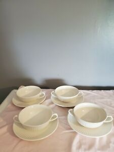 mikasa Italian Countryside set Of 4 Cream Soup Bowls W/ Saucer/Underplate Double