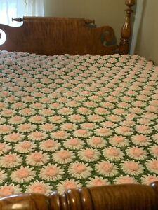 Handmade Crocheted Afghan Green Pink White Daisy Blanket Large 76 X 58 Vintage