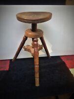 vintage piano stool, solid wood, adjustable height, 3 legged,  ~1890's