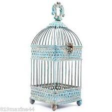 Gorgeous Antique Style Blue Iron Bird Cage Urban farmhouse Decor!