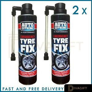 2 x 300 ML QUICK FIX CAR EMERGENCY FLAT TYRE INFLATE PUNCTURE REPAIR KIT