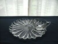 """Indiana Colony Glass Clear Daisy Snack Luncheon 10 1/4"""" Plate & 6 ounce Cup Set"""