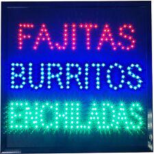 Fajitas Burritos Enchiladas Tacos Mexican Cuisine Food Mole Restaurant Open Sign