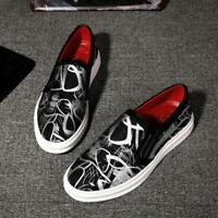 Men Print Floral Canvas Slip On Loafers Casual Shoes Breathable Sneaker Chic New