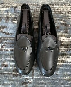 Belgian Shoes Midinette Slippers 7 Flats Black Leather Loafers $500 Slip Ons