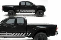 Vinyl Decal Rocker Panel Offroad Stripes Wrap Fits: Toyota Tacoma 05-12 Silver