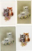 C9 genuine VINTAGE swap playing cards SET OF 4 cats kittens by artist GIORDANO
