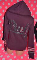 Victoria's Secret PINK Hoodie Zip Sweatshirt Sequin Burgundy Maroon Red Bling XS