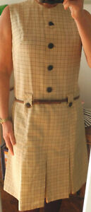 Robe vintage années 60  faite par couturière 40 beige quadrillée marron