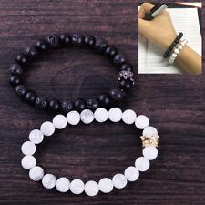 2stk Buddha Hamsa Armband Lava Onyx Stein Perlen Antik Bracelet Chakra Armreif