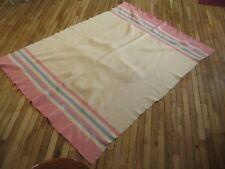 "Vintage H.B. Horn Bro. Blanket, Canadian Made, 100 % Wool, 60"" x 77"" Beautiful"