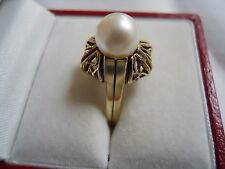 BEAUTIFUL Vintage 14k Yellow Gold 8mm CULTURED PEARL RING Size 7.25 #16175