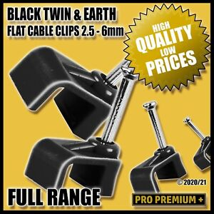 Black Flat Plastic Cable Clips Nail Tidy Clamps Electrical Wire Cables 2.5 - 6mm