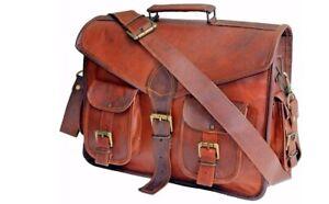 Men Genuine Leather Vintage Laptop Messenger Handmade Brief case Bag Satchel New