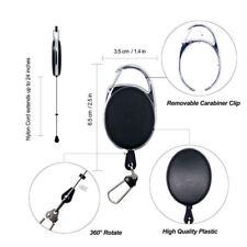 Retractable Recoil Keyring Key Chain Pull Retractor Card Belt Clip Black FDG
