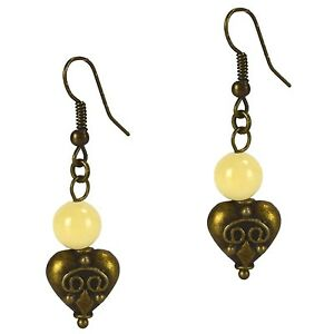 Dangle Beaded Fashion Hook Earrings Yellow Jade & Antiqued Pewter Gothic Heart