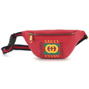 GUCCI Print Small Belt Bag Leather Red 527792 204991 Purse 90115646