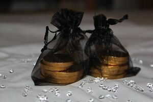 30 x BLACK ORGANZA BAGS WEDDING TABLE DECORATION 7cm x 9cm UK SELLER