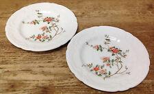 Coalport England Samarkand Asian Magnolia Floral Rim Orange 2 Bread Plates 16268