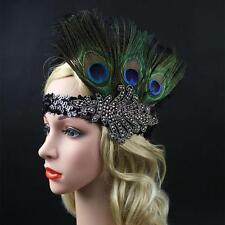 Vintage Peacock Feather Headband 1920s Great Gatsby Flapper Headdress Black