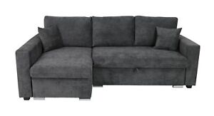 CORNER SOFA BED FLAVIO LEFT SIDE KENSINGTON CHARCOAL GREY BRAND NEW HIGH QUALITY