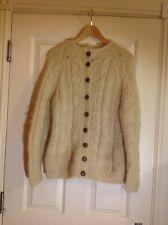 Vintage, Topshop, Cream Wool Chuncky Knit Cardigan, M, fit 12/14