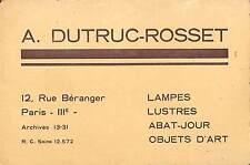 "PARIS RUE BERANGER CARTE DE VISITE DUTRUC-ROSSET "" LAMPES LUSTRES """