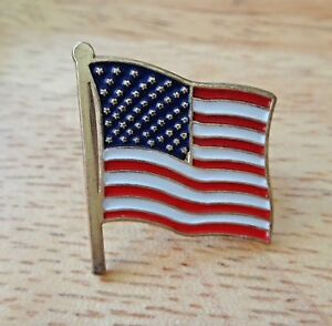 Red White Blue enamel 50 Stars USA Flag America w/ Gold color back Tie Tack Pin