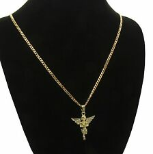 Men & Women Angel Cz Pendant With Gold Plated stainless steel Cuban Necklace 24""