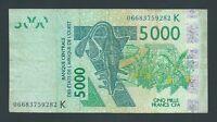 F.C. AFRICA DEL OESTE , SENEGAL , 5000 FRANCOS 2003/06 , B/C+ ( FINE+ ) , P.717K