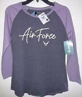 Soffe Offical Air Force New Women's 3/4 Sleeve  Tee Shirt Gray & Purple